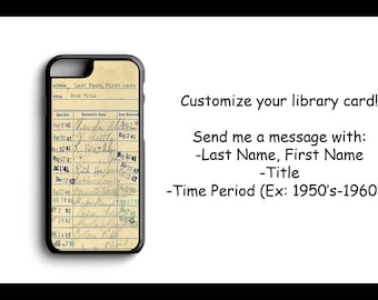 Personalized Library Vintage Card For iPhone 4/4s 5/5s 5c 6/6s 6 Plus/6s Plus 7 7 Plus SE with a FREE Tempered Glass Screen Protector Custom