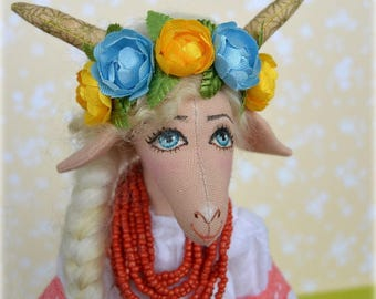 Original toy Goat, Ukrainian style, Fabric Goat, souvenir, Goat of Ukrainian fairy tales