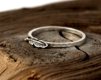 Feather ring sterling silver. Tiny sterling silver ring, stacking ring, hammered band ring