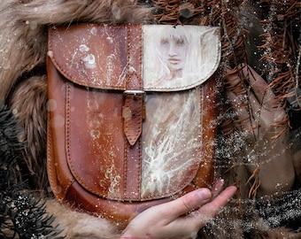 Brown hand painted elves crossbodybag.