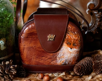 Hand-painted brown vintage leather shoulder bag with a fox portrait