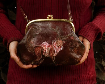 Red-brown hand-painted crossbody bag with the forest god from Princess Mononoke.