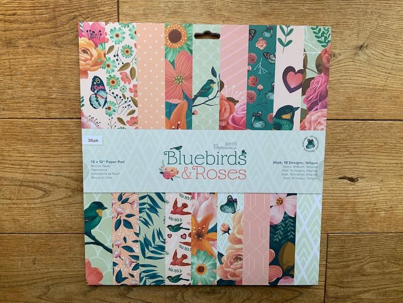12 x 12 Scrapbook Paper Pad Bluebirds & Roses image 0
