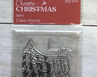 Clear Stamp Christmas Fireplace Scene