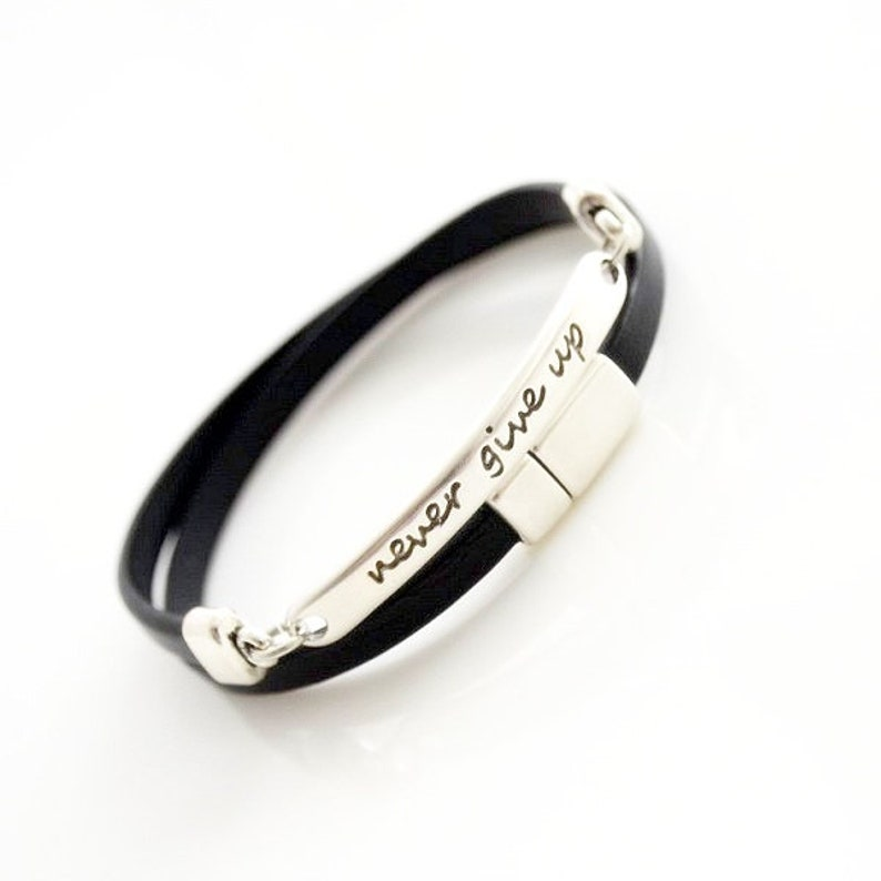 never give up,a gift for your husband,a gift for my wife,anniversary gift,custom bracelets,a gift for a girl,a gift for a boy