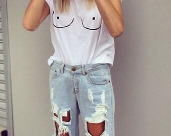 Tumblr white tshirt tits