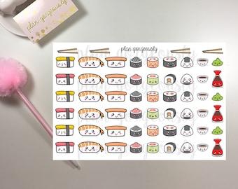Kawaii Sushi Stickers, Sushi Night Stickers