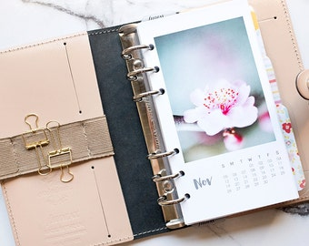 2017 Personal Monthly Planner Calendar Floral Photography Inserts