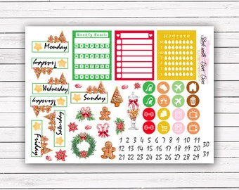 Ginger Bread Man Christmas theme add-on stickers || Erin Condren planner vertical layout