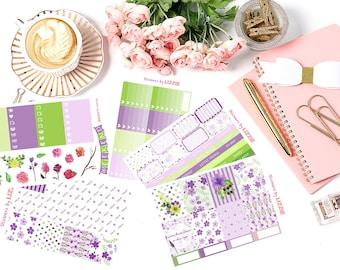 Purple Dreamy Garden week Kiss-cut weekly kits planner stickers    Erin Condren planner vertical layout