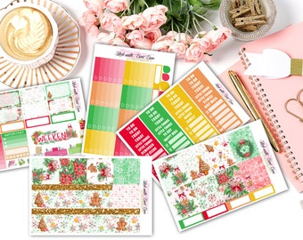 Ginger Bread Man Christmas weekly kits planner stickers || Erin Condren planner vertical layout