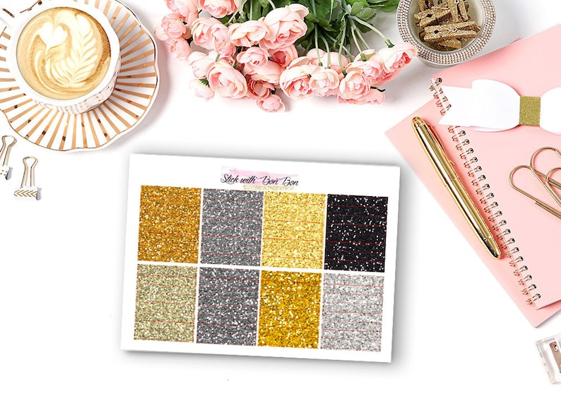 Glitter hearder NEW YEAR EVE theme planner stickers for Erin image 0