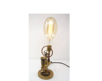 Brass Pipe Lamp Featuring Extra LARGE Edison Bulb