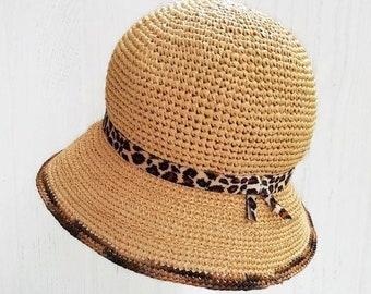 dc2eda2c0d360 Raffia sun hat Cloche straw hat Summer hat crochet Bucket hats for womens  Beach hat for large head