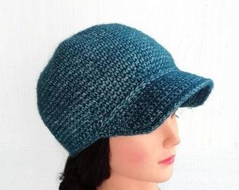 7fdb6e75c7b Knit newsboy cap with visor for woman Crochet newsboy hat Beanie hat with  brim for women Knitted baseball cap