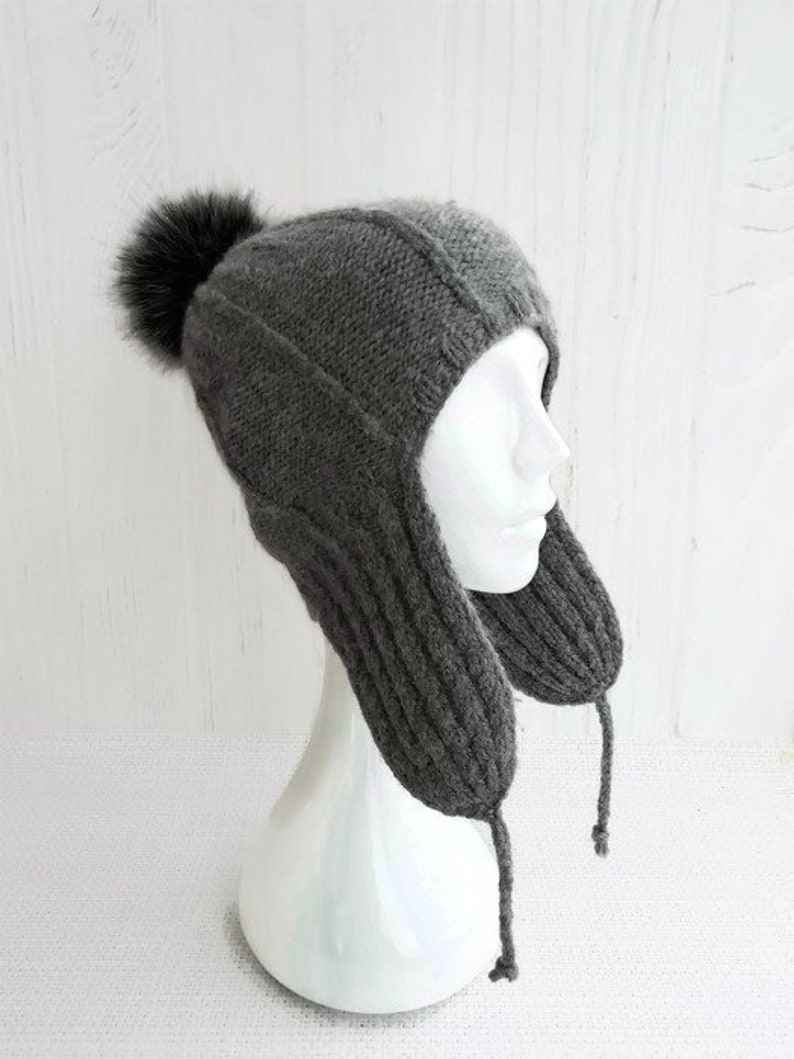 0b5e1794b Knit aviator hat covers ears - Beanie with ear flaps women - Wool ski hats  with pom pom for women