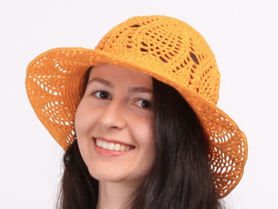 Womens sun hat Crochet summer orange hat for women Lace cotton  c600c5071dd4