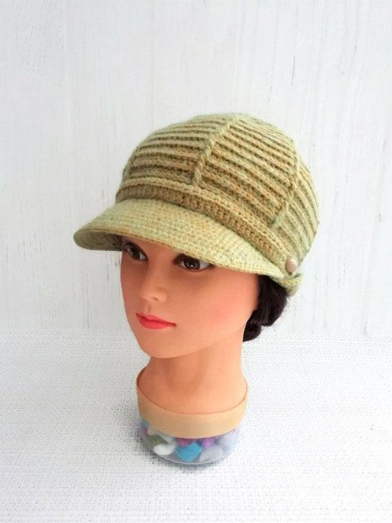 Newsboy beanie hat visor for womens Knit newsboy cap with  e475e74851f