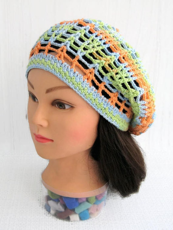 Crocheted summer beanie hats Woman summer beanie hat cotton  0a10351bb80