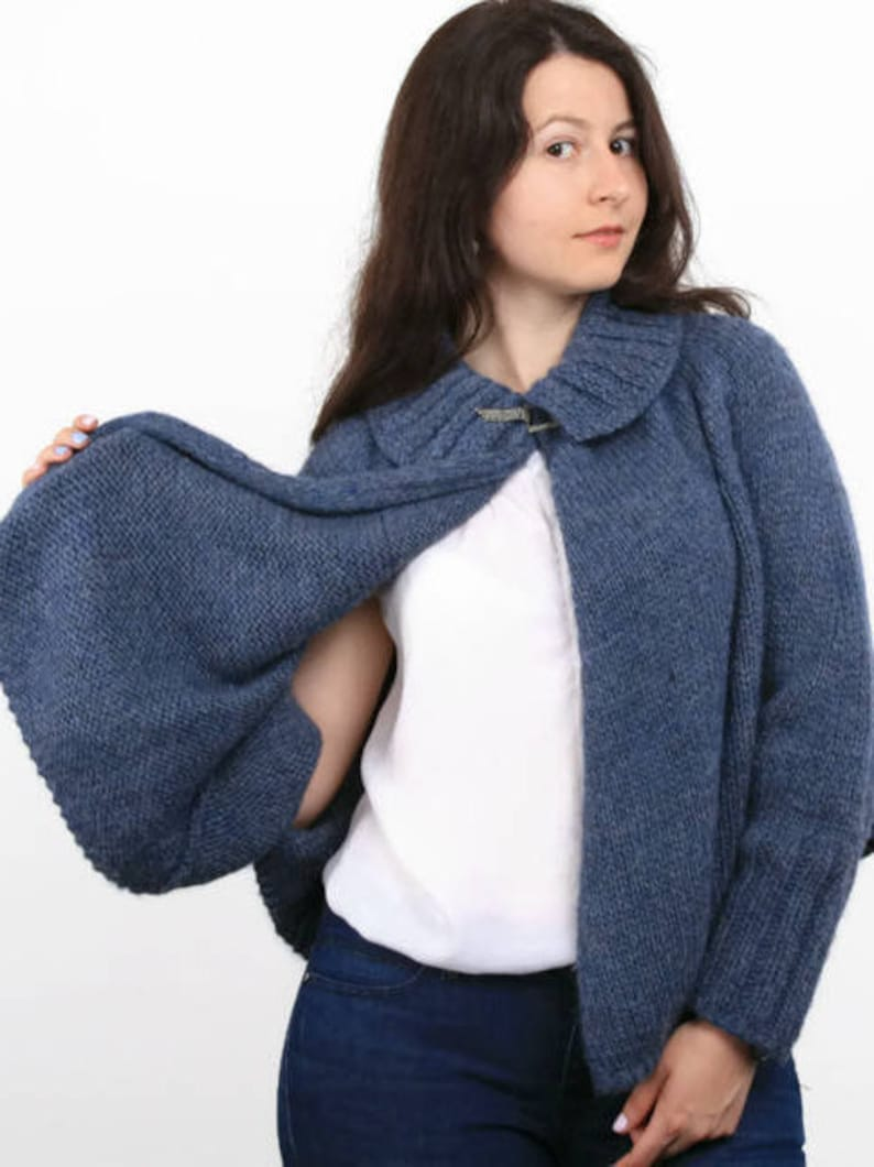 6809e301cd09 Hand knit warm poncho with sleeves Wool knitted alpaca poncho