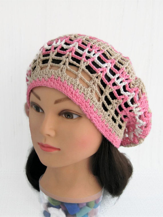 Summer Beret Hat Easy Crochet Lace Beret Hat Slouch Free Etsy