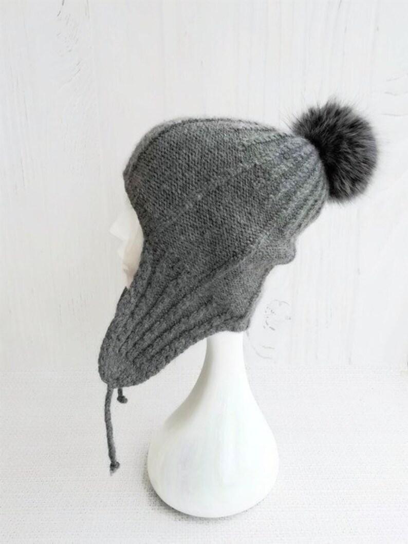4d365cb4e3e Knit aviator hat covers ears Beanie with ear flaps women