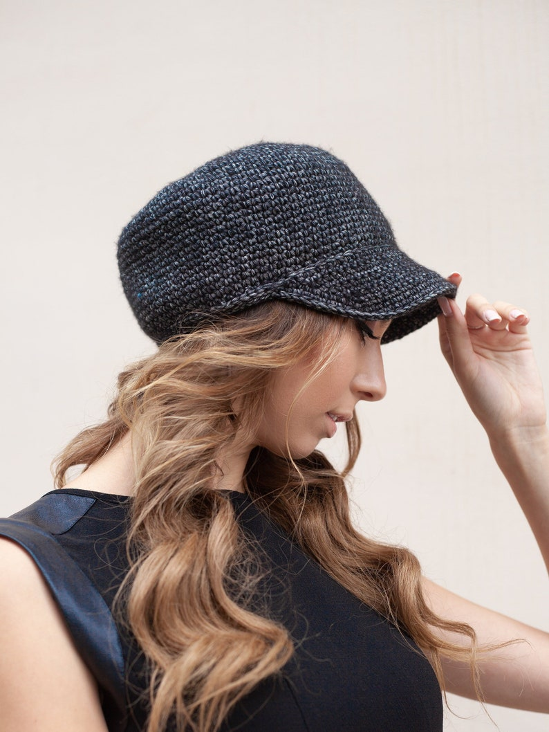 156f88849e Womens hat with visor cotton Crochet newsboy beanie hats for