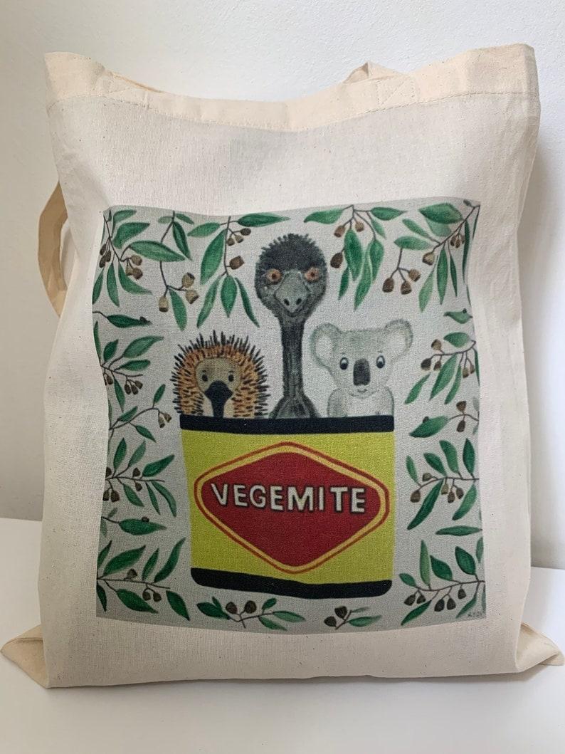 Australian Souvenir Tote Bag Carry Bag Canvas Bag Aussie Animal Market Bag Vegemite Lovers Tote Bag Vegemite