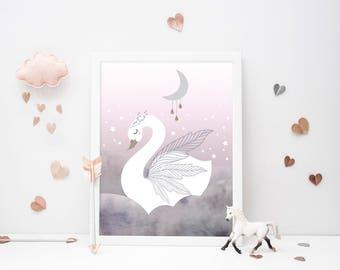 Swan Princess - Clouds - Nursery Print - Baby Nursery - Wall Art - Kids Room - Girls - Pastel Pink/Grey/Lavender - Moon Stars - Fantasy