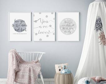 Stars and Spots (Set of 3) - Nursery Prints - Children's Wall Art - Baby Nursery Decor - Moon & Stars - Typography - Grey, Pink, Blue
