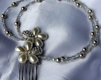 Coffee Cream Pearl Bridal hair chain, long pearl bride hair drape, pearl head chain, pearl bride hair piece, wedding hair accessory