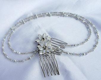 white bridal hair piece, Bridal pearl head chain, Silver and White floral hair chain, Silver white hair drape, pearl hair vine accessory