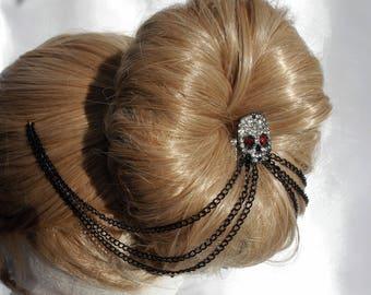 Diamante skull hair chain, skull hair piece, Gothic style head chain, skull mini comb, Skull and chain hair drape, Gothic wedding hair piece