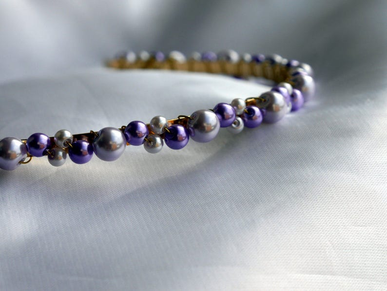 purple wedding Hair accessory, purple bridesmaid hair accessory Purple and gold hair band Purple Bridesmaid Headpiece purple hair piece