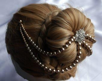 Pearl head chain, Bridal hair chain, Pearl Diamante hair chain and pins, Diamante hair drape, Pearl hair accessory, pearl hair piece
