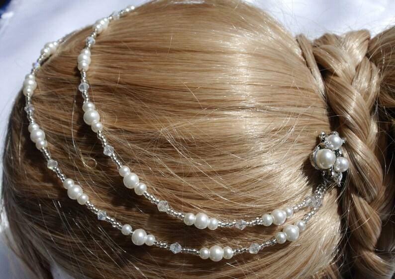 Pearl Brides Hair Chain Bridal Wedding Hair Accessory Bride Hair Piece pearl and diamante bride hair vine, Cream Pearl Bridal hair chain