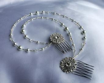 diamante and pearl hair vine, Diamante and Pearl Bridal hair piece, White pearl head chain,  brides pearl hair chain, Bridal hair drape