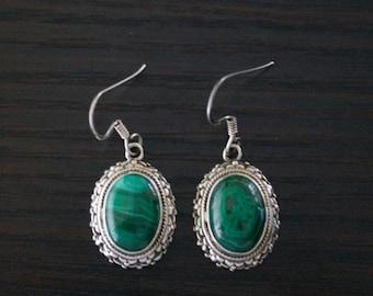 ON SALE Vibrant MALACHITE Silver Earrings