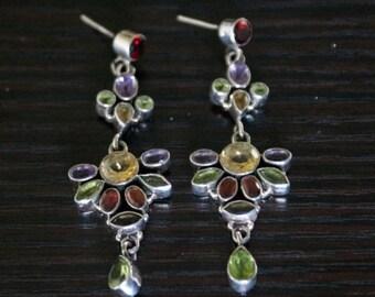 ON SALE Shapely Topaz, Garnet, Peridot Silver Earrings