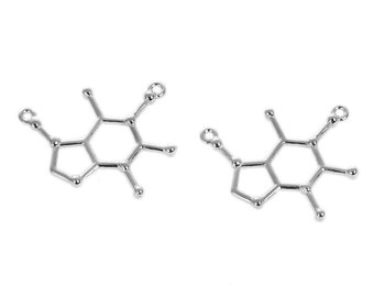 5 Caffeine Molecule Coffee Charms Chemistry Antique Silver Tone 27mm  J77392H