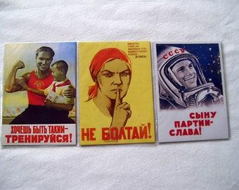 Set of 3 Fridge magnets Soviet propaganda Russia