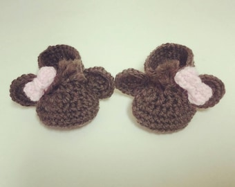 Newborn Crocheted Monkey Booties! Sizing for 0-6 months! FREE SHIPPING! Ready to ship too.