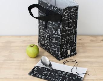Teacher lunch bag. Zero waste bag. Eco lunch bag for men. Reusable lunch bag. Office lunch bag. Work lunch bag. Mathematics gift
