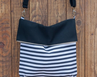 Fold over Crossbody Bag. Striped shoulder bag. Fabric bag purse. Summer bag. Stripes handbag.