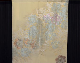 Rainbow Floral - Japanese Kimono Fabric Tapestry Wall Hanging Display