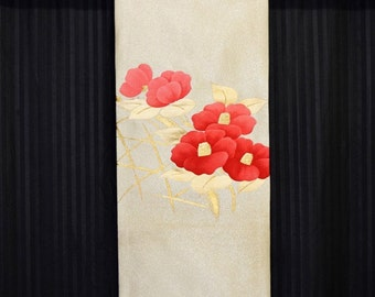 Red Camellia - Vintage Japanese Obi Fabric Tapestry Wall Hanging Display Decor