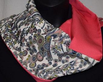 Silk Scarf Wrap Women's Vintage Japanese Kimono Fabric - Bubble Floral