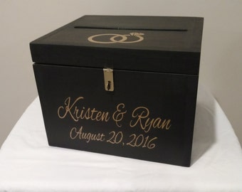 Personalized Rustic Wedding Card Boxwedding Gift Card Box Etsy
