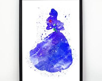 Beauty and the beast print, Beauty and the Best fan art, Watercolor alternative poster, Watercolor Art, Nursery Print, Nursery Wall Art,