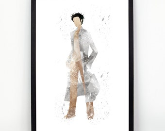 Okabe Rintarou, Steins;Gate Anime, Manga Alternative print, Watercolor alternative poster, Watercolor Art, Nursery Print, Nursery Wall Art,